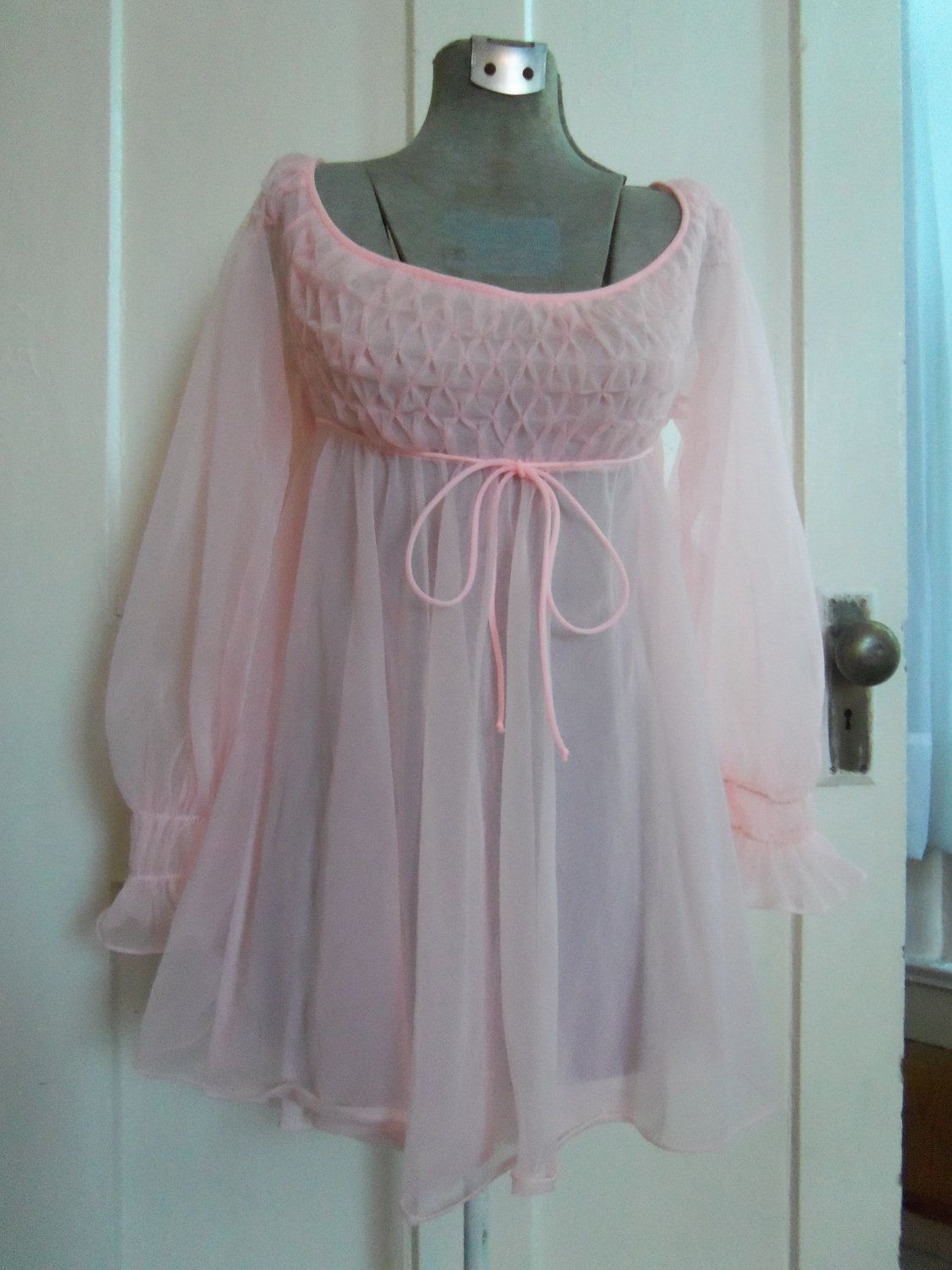 vintage babydoll empire pink nightgown