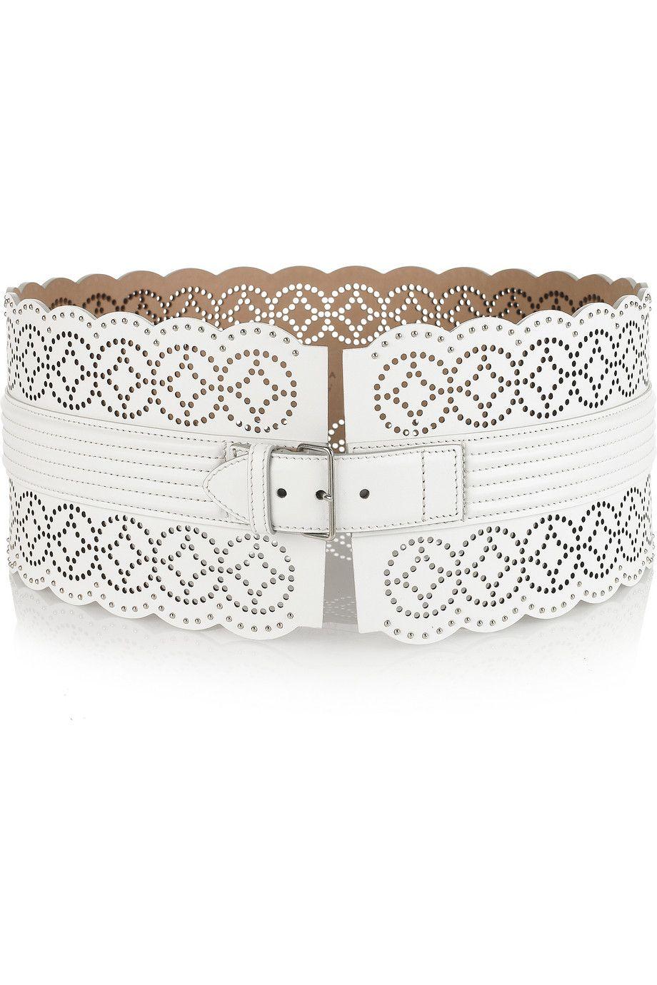 alaia perforated leather waist belt