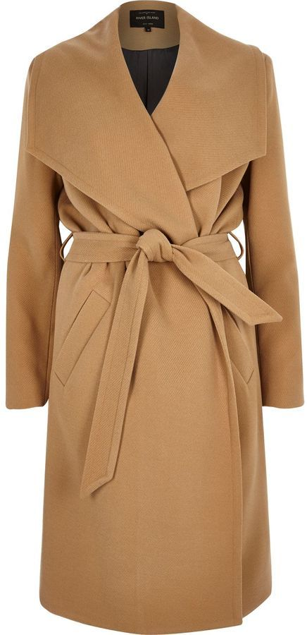 River Island Womens Camel belted robe coat | Camel Coats