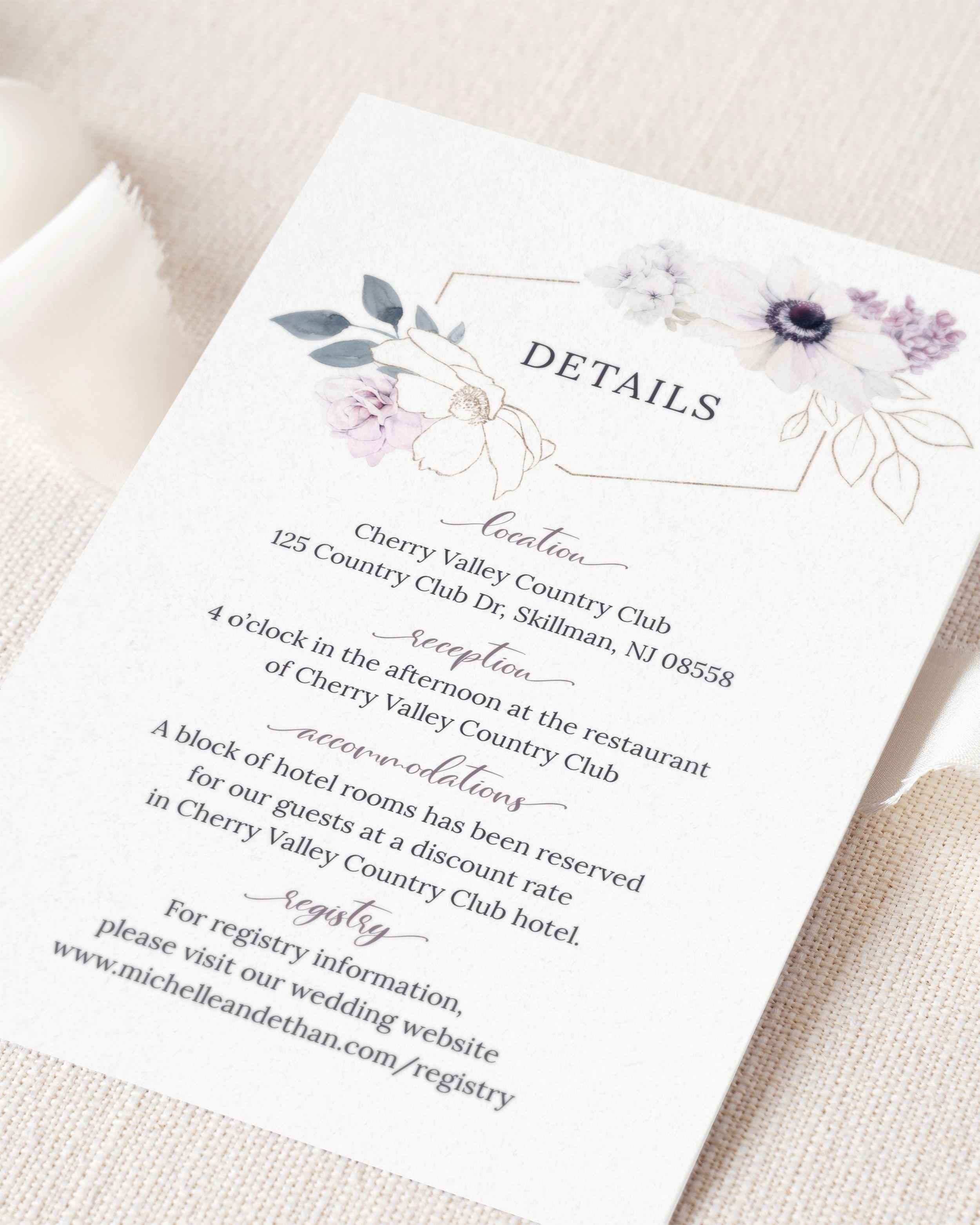 Anemone Wedding Details Card Template Watercolor Floral Frame Etsy Wedding Details Card Wedding Invitation Inserts Wedding Invitations Diy