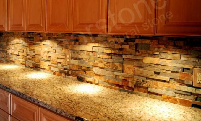 Ochre Blend Stone Panels Norstone Usa Stacked Stone Backsplash