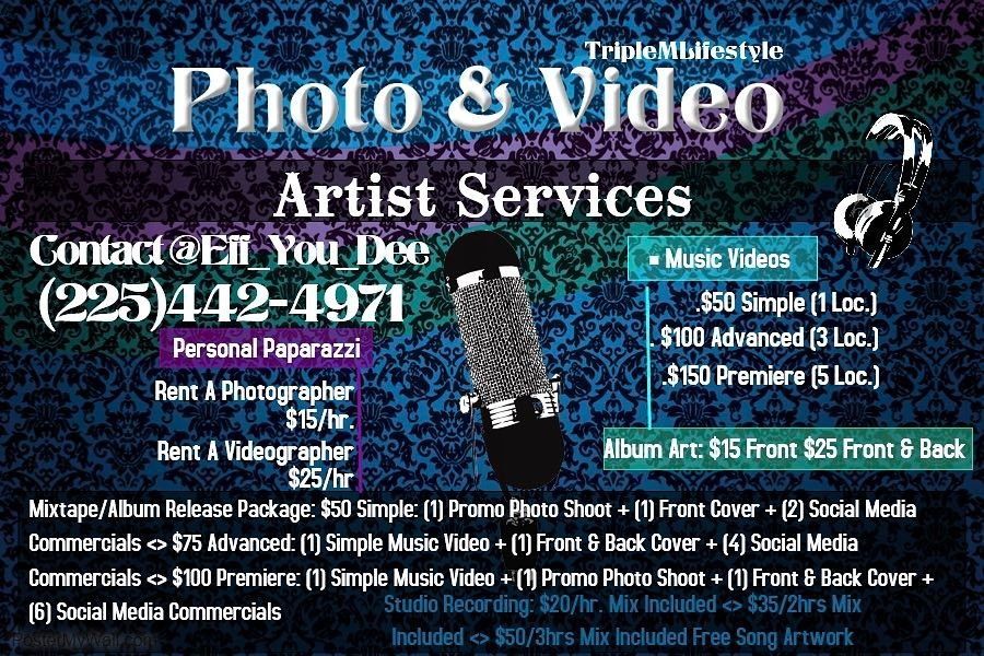 Triplemlifestyle Photo Video Offers Various Services For Aspiring Artist Need A Cover For An Upcoming Mixtape Need A P Video Artist Aspiring Artist Mixtape