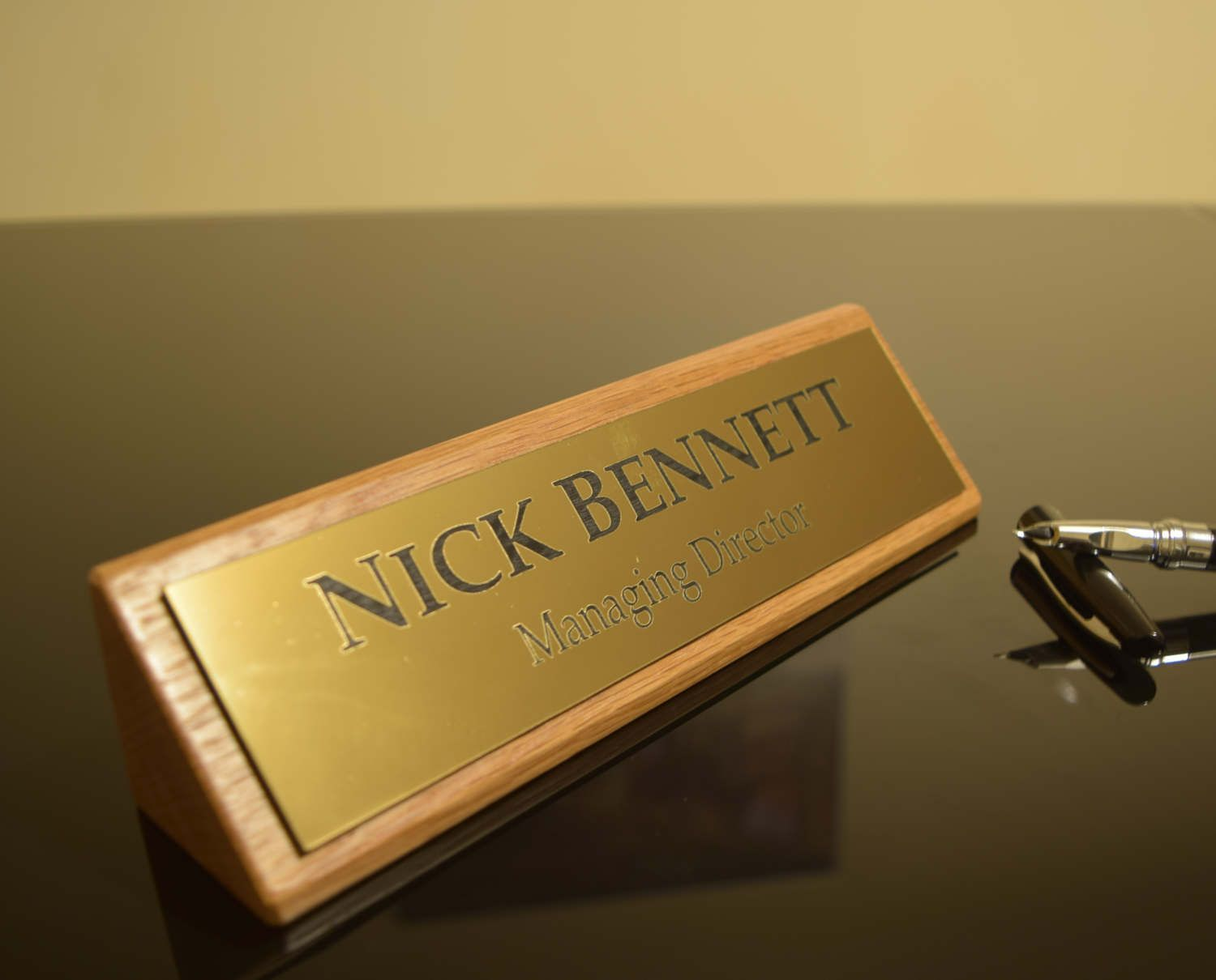 Solid Oak Stylish Personalised Desk Name Plate, Custom Engraved Sign, Office  Plaque By LaserVinylArts