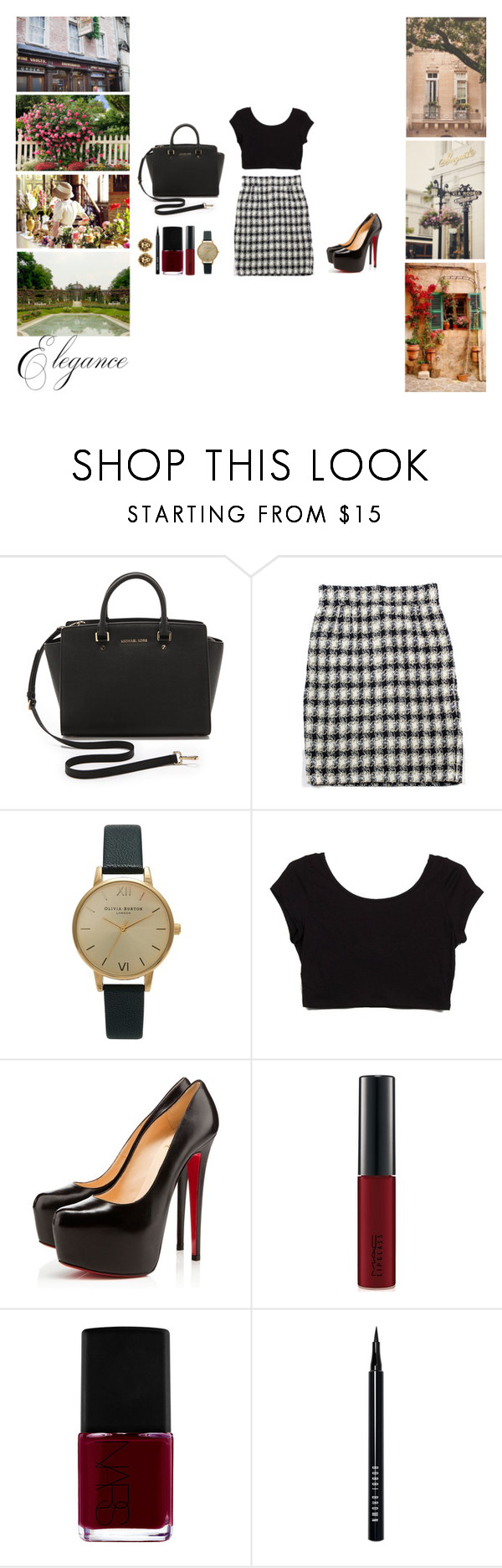 """Spring day"" by fashionphilosophies ❤ liked on Polyvore featuring MICHAEL Michael Kors, Chanel, Olivia Burton, Christian Louboutin, MAC Cosmetics, NARS Cosmetics and Bobbi Brown Cosmetics"