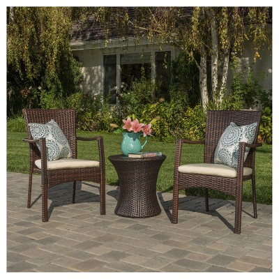 Corsica 3pc Wicker Chat Set Brown Christopher Knight Home