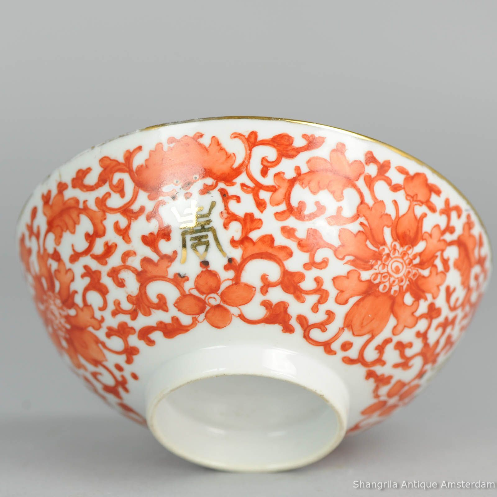 C Chinese Antique Porcelain Bowl Orange Bats Flowers Lovely