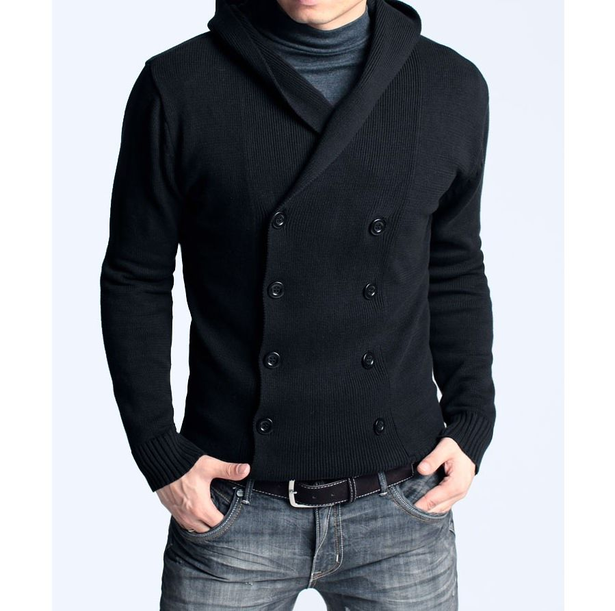 Stylish Double Breasted Fitted Hooded Cardigan Sweater, Black ...