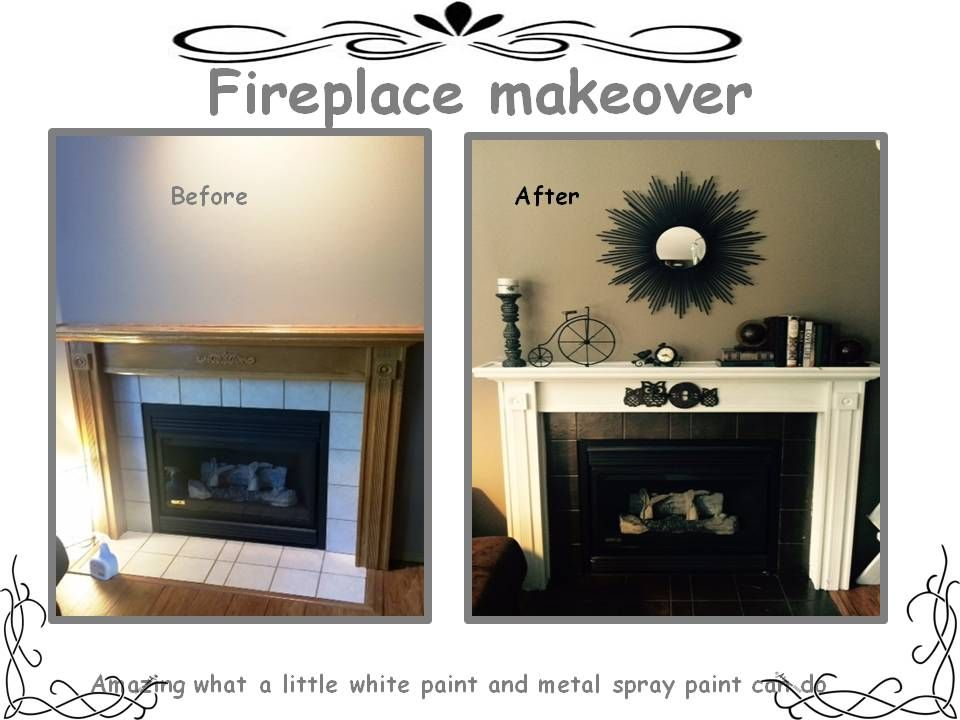 Fireplace Makeover Heat Resistant Spray Paint To Take Care Of The Ugly Tile Surround Crisp White Makes It Really Stand Out And Change Vibe For