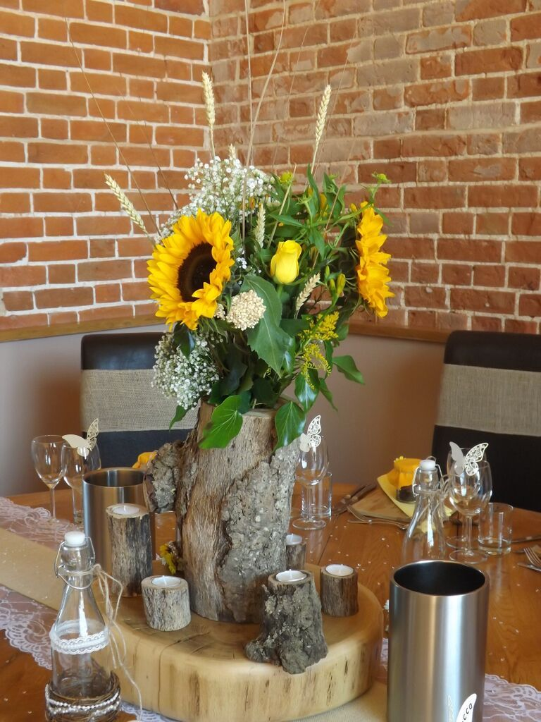 Pin By Kwf Floristry Styling On Rustic Log Wedding Centrepieces