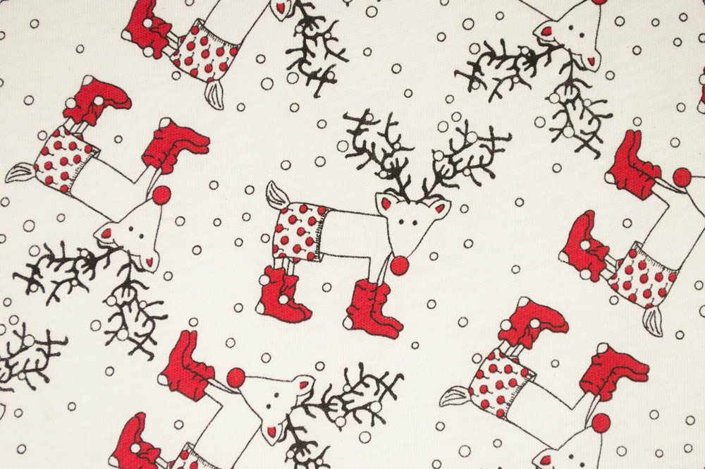 Christmas Reindeer Knit Fabric By The Yard Knit Pajama Fabric