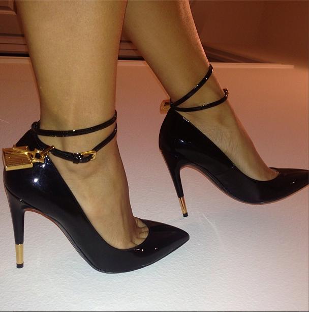 f09b87079c4 Draya Michele wearing Tom Ford Padlock ankle strap pumps