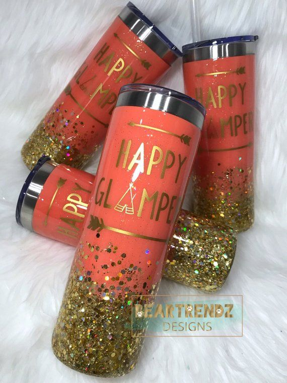 Glitter Tumbler Epoxy Tumbler Happy Glamper Happy