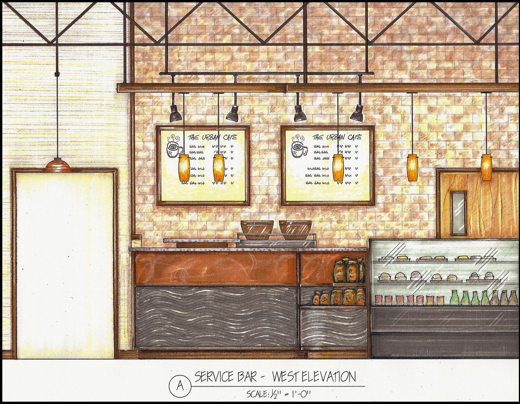 Interior Design Hand Rendered Section Service Bar Interior
