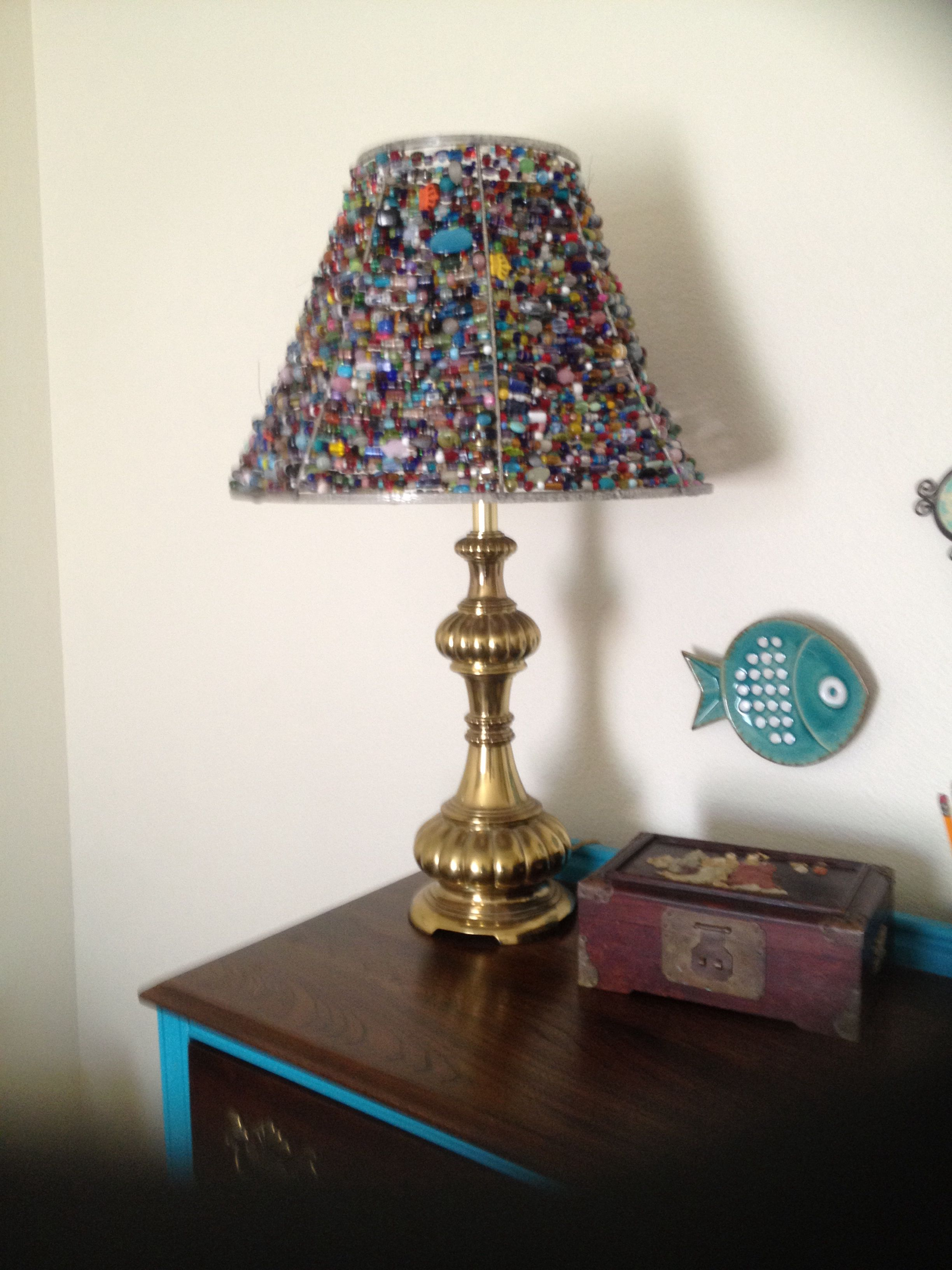 Beaded lampshade i made from an old lampshade wire frame and close beaded lampshade i made from an old lampshade wire frame and close to ten pounds of glass and stone beads i used heavy beading wire an crimp beads to keyboard keysfo Images
