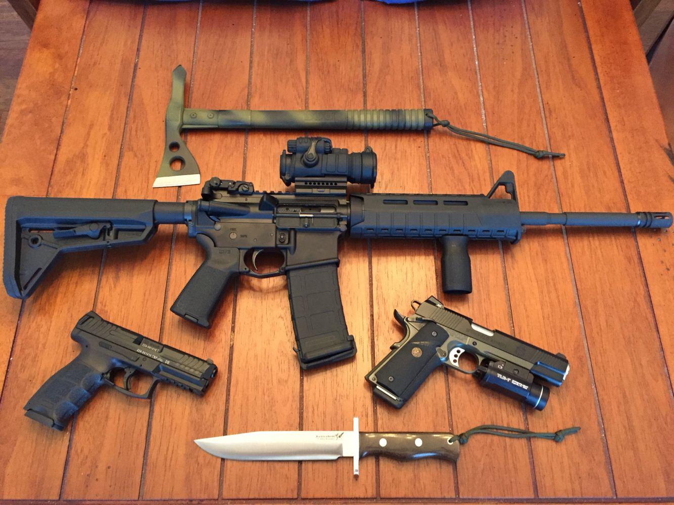 My Daniel Defense With Magpul MOE SL Furniture. HK VP9, Springfield MC  Operator. Blackjack Model 14 Border Patrol, SOG Hawk.