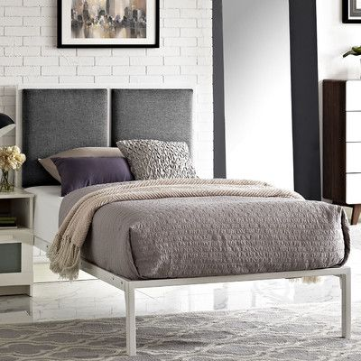 Modway Della Upholstered Fabric Platform Bed Upholstery: Gray, Size: Queen, Color: Brown
