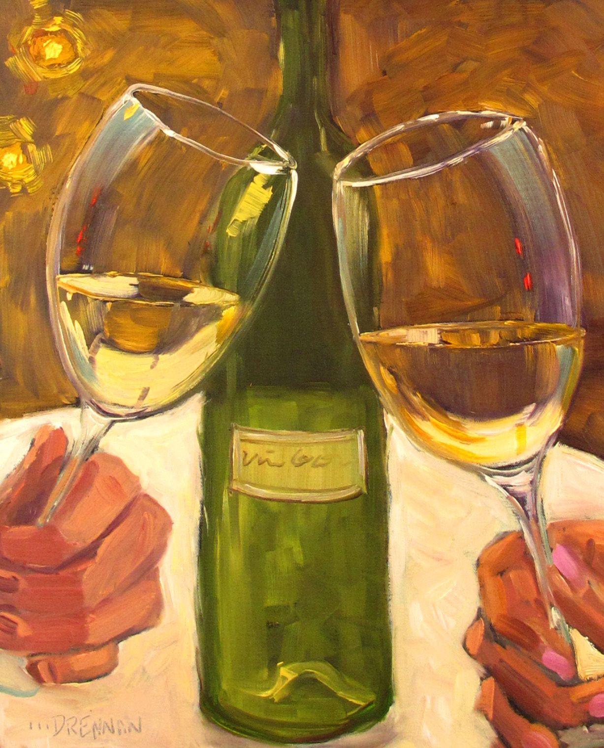 lorrie drennan oil painting wine wine glass painting