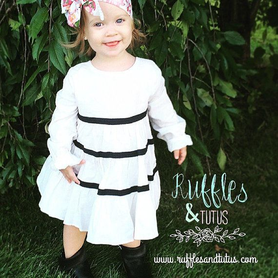 Fiona Fall  White Linen with Navy Blue Striped by RufflesandTutus