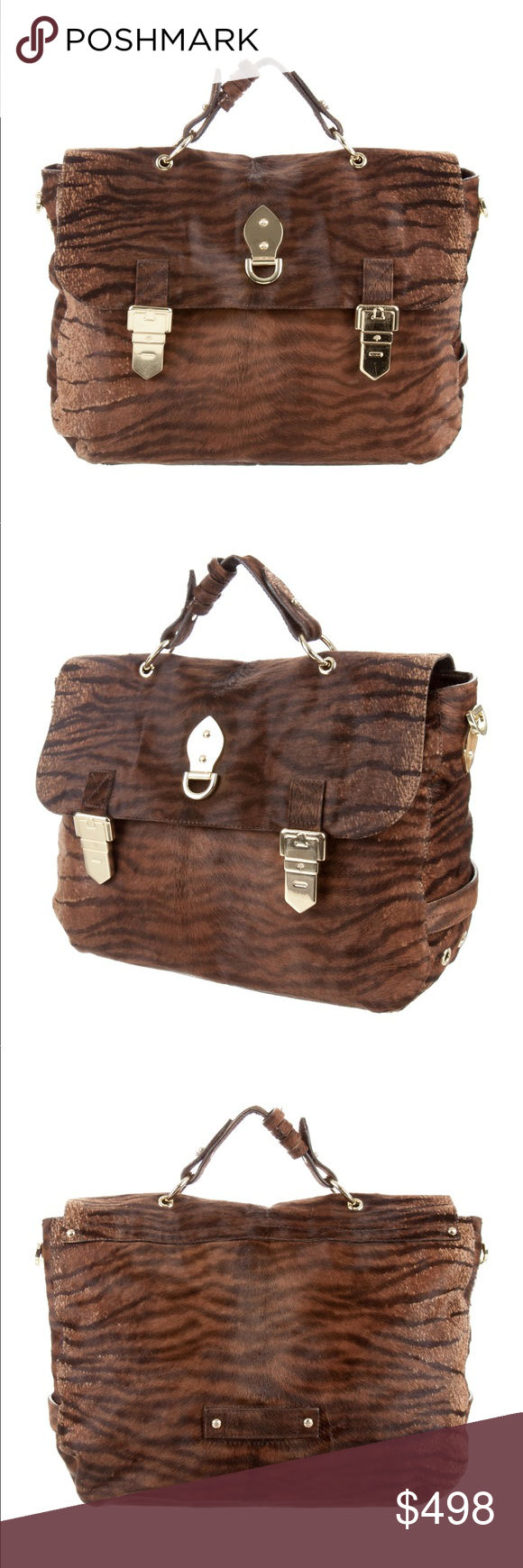 Mulberry Ponyhair Tillie Tiger Print Satchel Monochrome brown printed  ponyhair Mulberry Tillie Satchel with gold tone 81e97b1a12