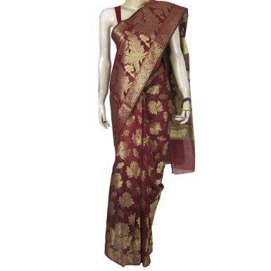 sari indian wear silk and cotton mix maroon summer dress for women: Amazon.fr: Vêtements et accessoires