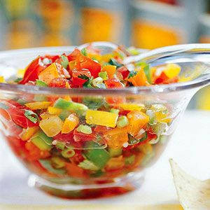 three tomato salsa.....For best flavor, make this fresh-tasting salsa with vine-ripened tomatoes, I f you like salsa mild, use the banana peppers. For a fiery hot version, opt for jalapeno, serrano, or Fresno chile peppers.