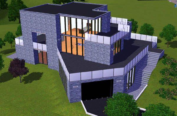 Sims 3 Maison moderne avec garage en angle - Architecture Maison ...
