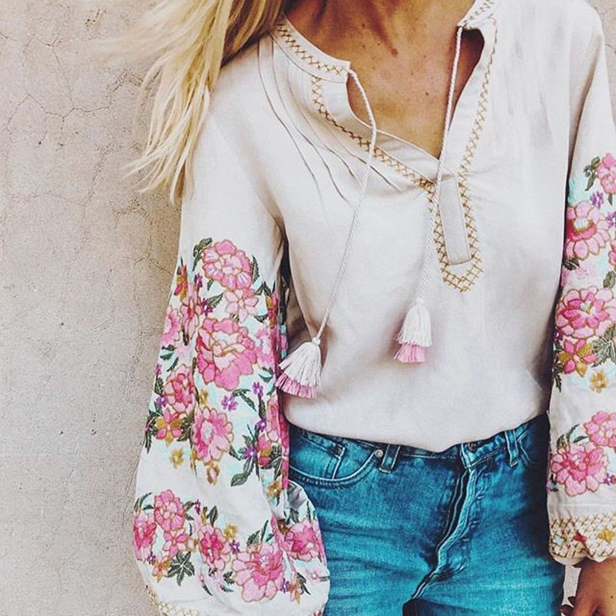 9e75be096f4426 Boho Floral Embroidered Blouse 3 4 sleeve V-neck tassel Hippie Chic Women  Shirt Top Casual Beach Blusa Blouses Summer 2018  shirts  blouses   shirtshop ...