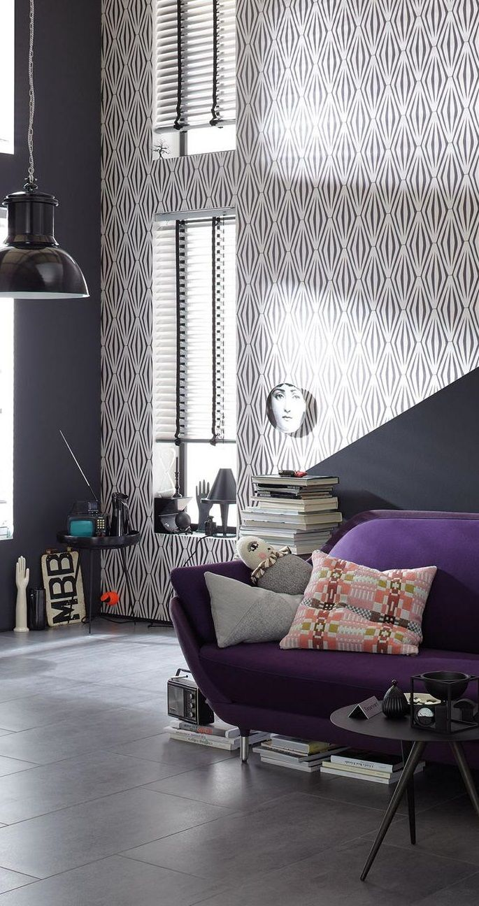 The Purple Geometric Patterning On This Cool Graphic Wallpaper Is So Modern Graphic Wallpaper Home Decor Home
