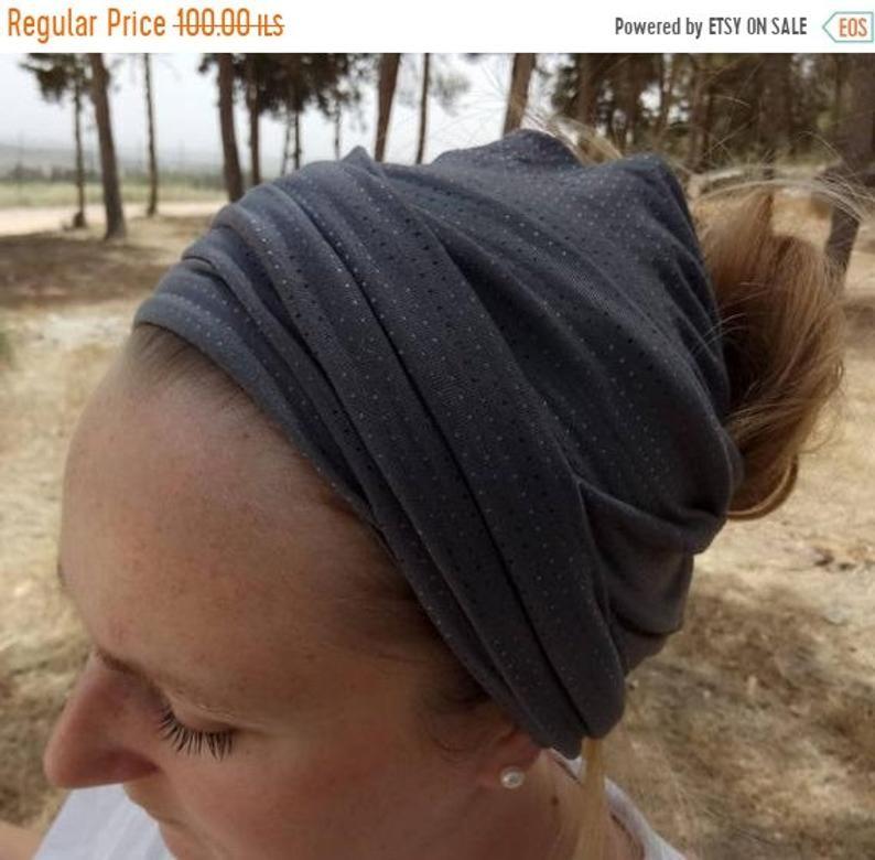 Sale Chalk gray head scarf, stretchy hair scarf, hair covering,hair wrap, hair accessory,polka dot head wrap