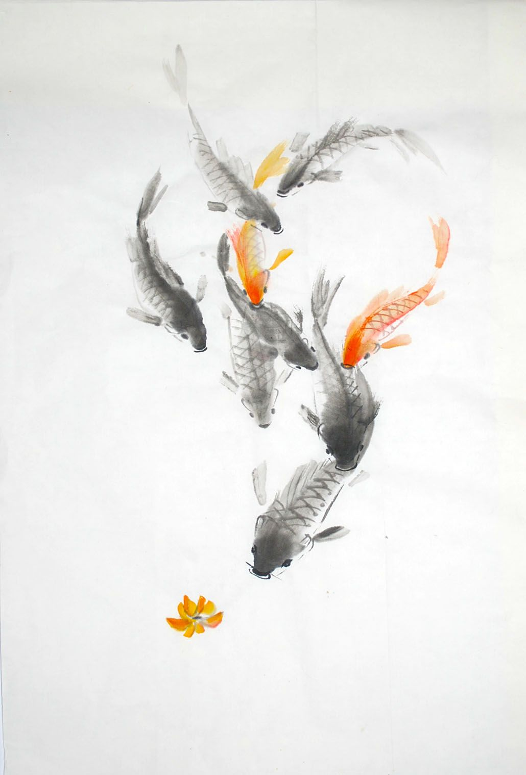Haw sumi e ink brush painting 2012 sumi e pinterest koi phoenix and fish for Chinese coy fish