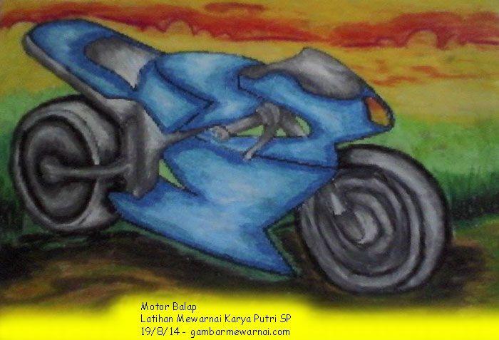 Latihan Mewarnai Sepeda Motor Gambar Kartun