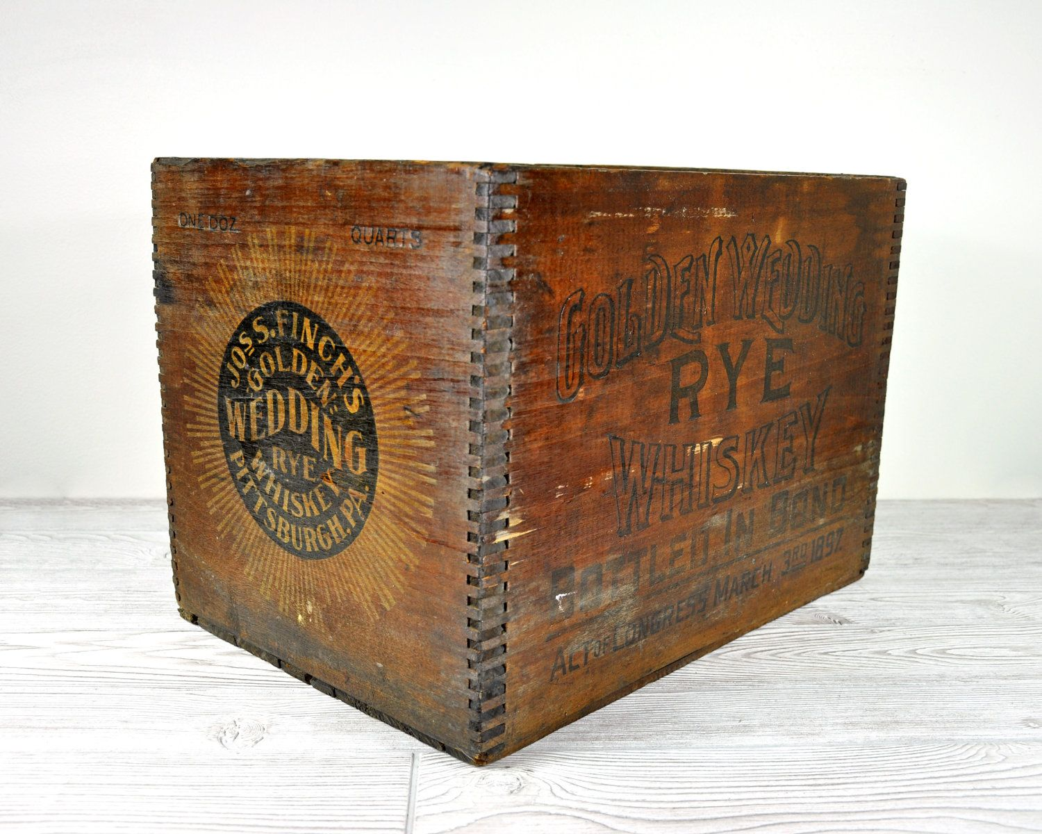 Vintage whiskey shipping crate wood crate wooden box for Old wooden crates
