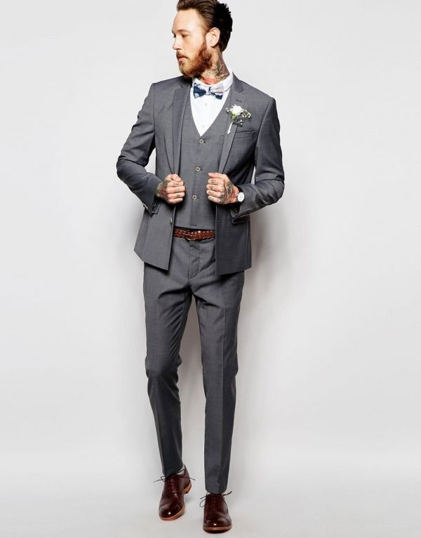 Gray Skinny Fit 3 Piece Groom S Suit