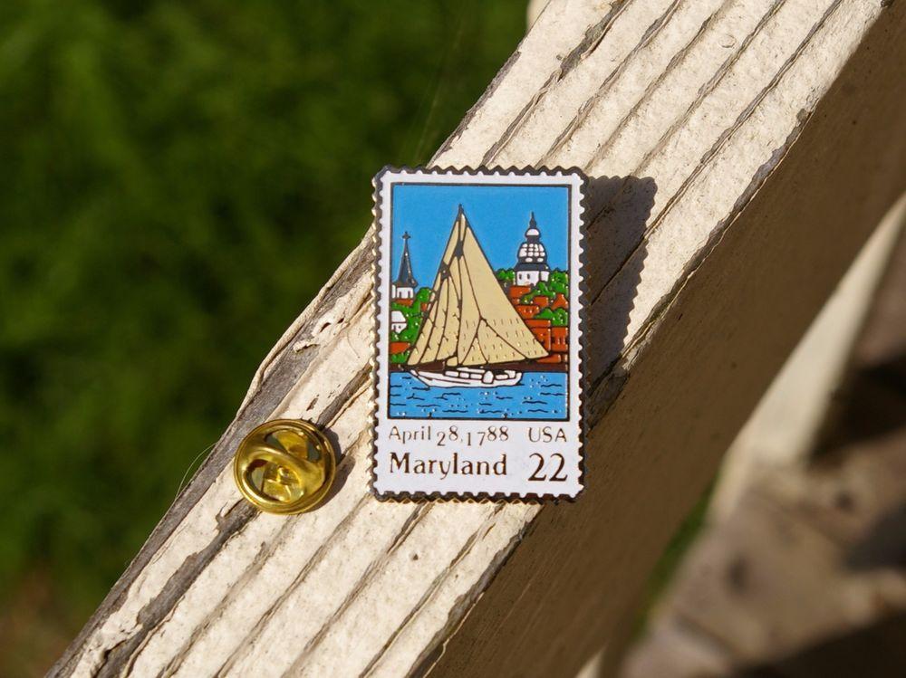 April 28 1788 maryland 22 cent usps postage stamp pinback
