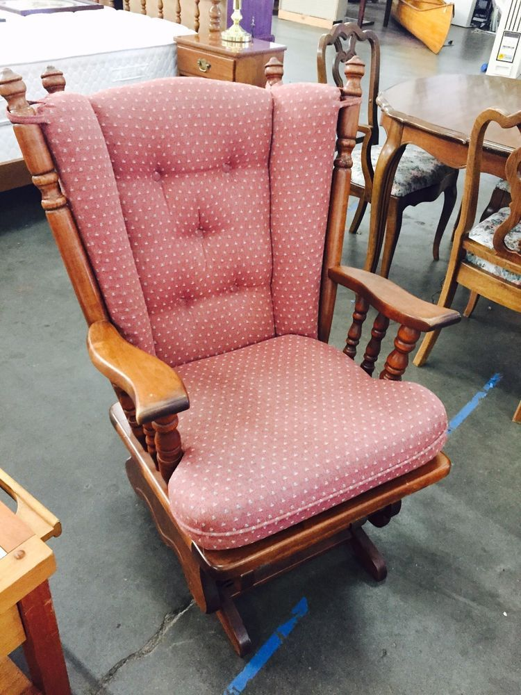 Vintage Tell City Glider Rocker Chair With Original Cushions And