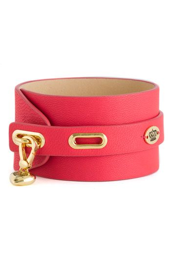 Juicy Couture studded leather cuff in pink...