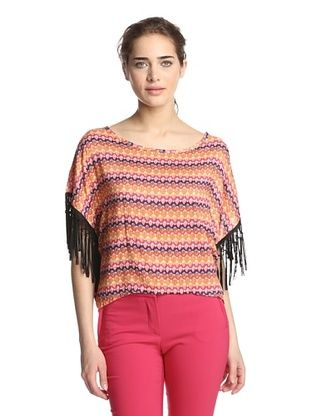 Romeo & Juliet Couture Women's Printed Top with Fringe (Orange)