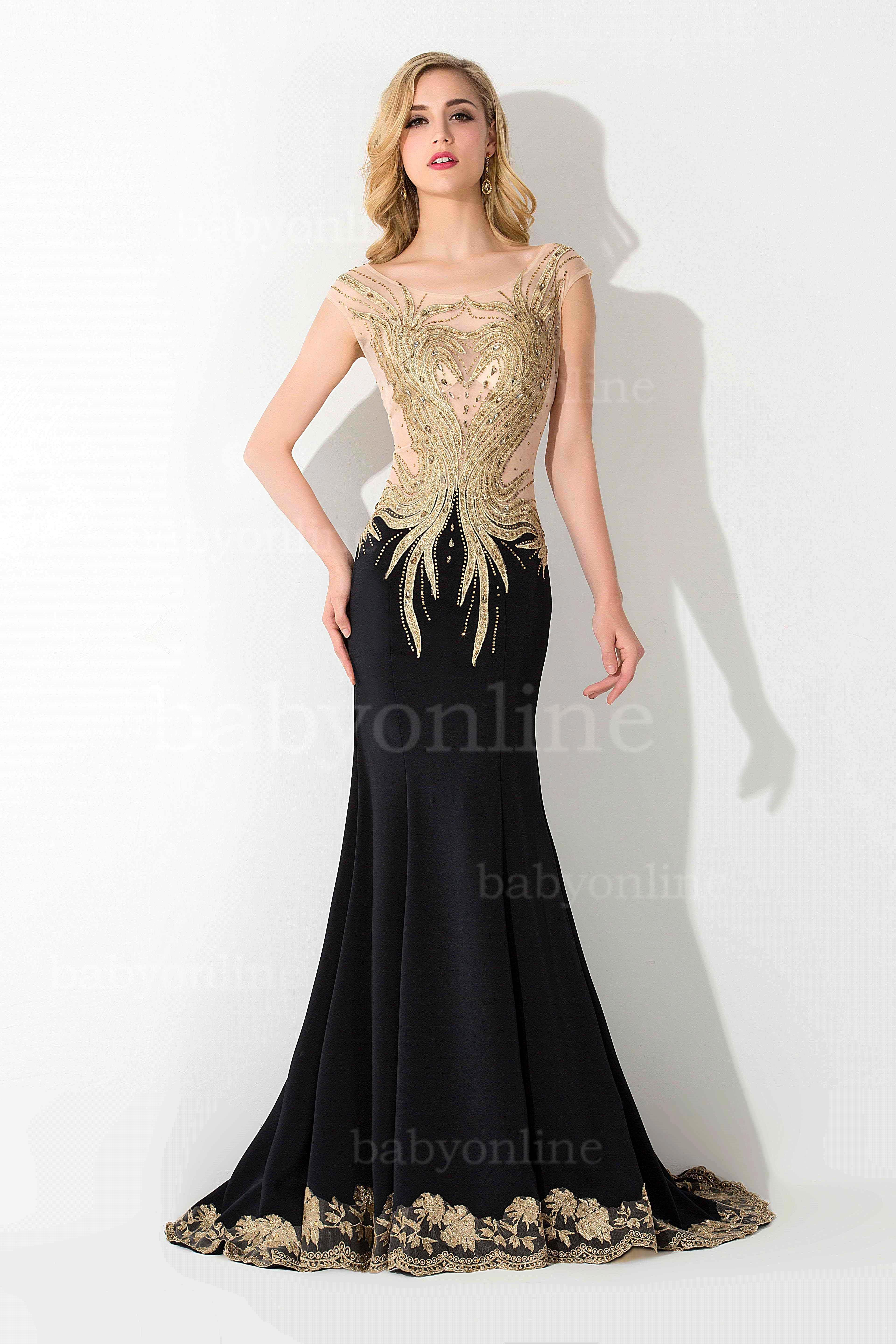 Sexy See Through Cap Sleeve Crystal Beaded Lace Mermaid Prom Dresses ...