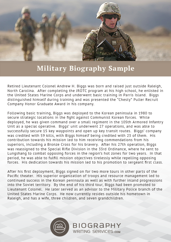for Army board bio template