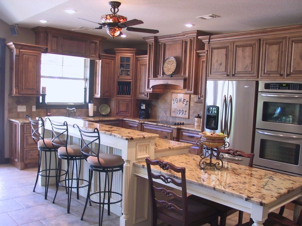 Knotty Alder Stepped Kitchen Kitchen Island Dining Table Kitchen Island Stools With Backs Kitchen Island Table With Seating