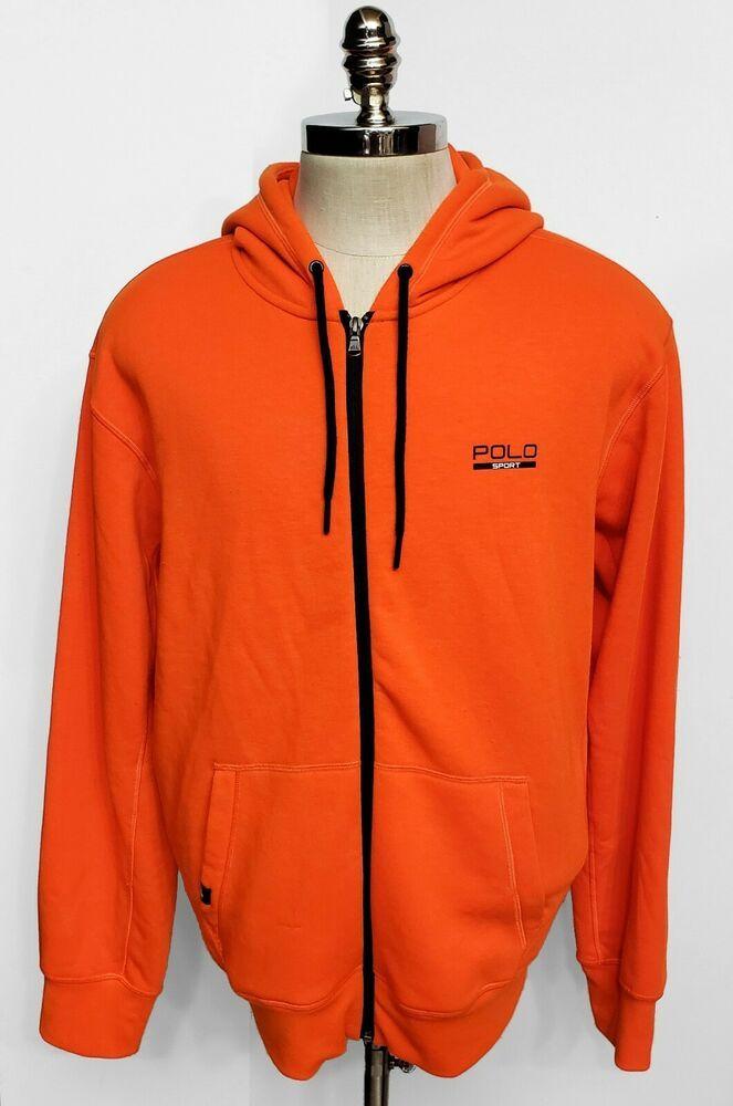 33cb0ca3d Ralph Lauren Polo Sport Performance Mens Fleece Jacket Orange Navy Hoodie  Size L  RalphLaurenPoloSport  HoodieJacket