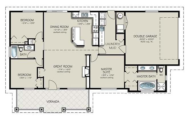 Merveilleux 4 Bedroom 2 Bath House Plans