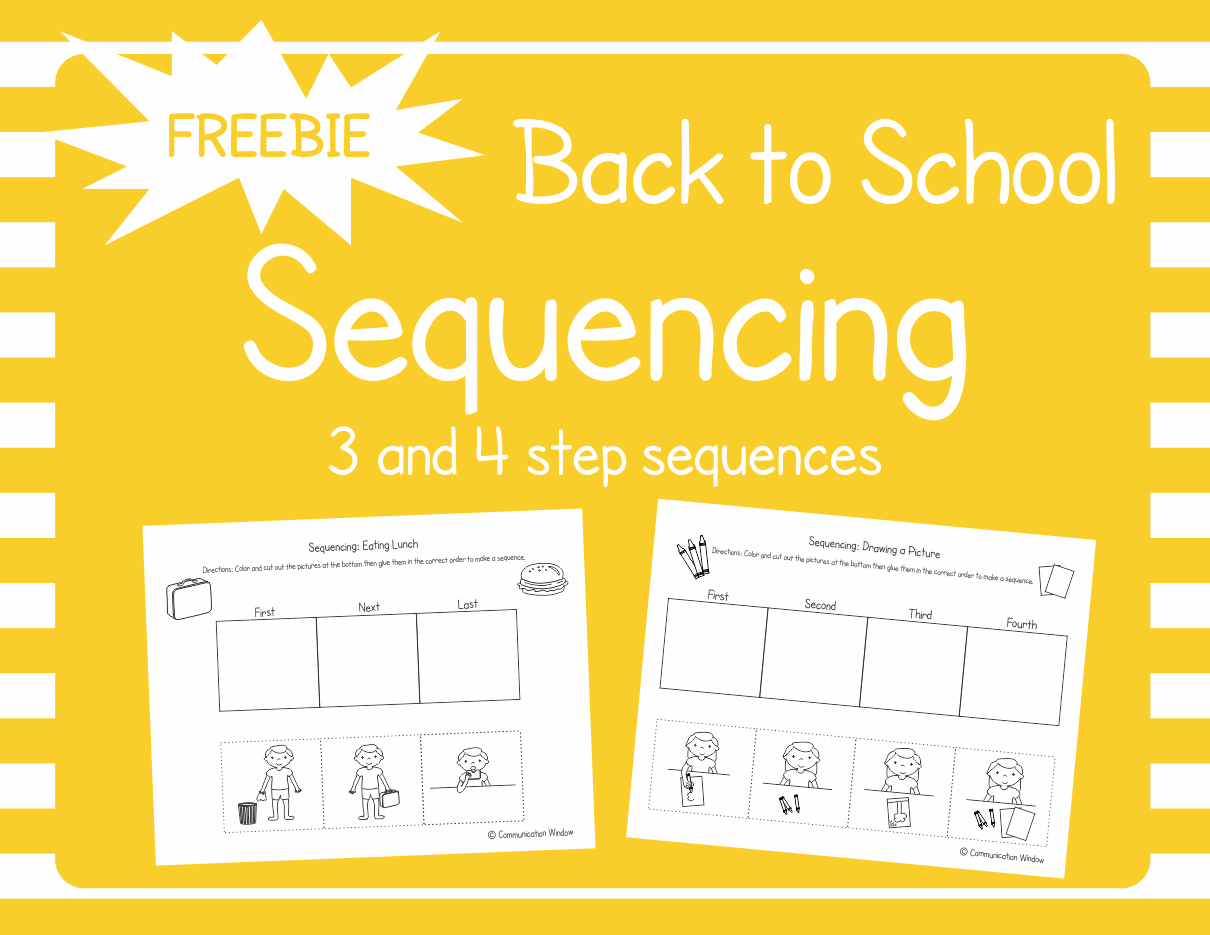 104 best slp story sequence freebies images on pinterest speech these free back to school sequencing cut and glue worksheets are for practicing 3 and 4 robcynllc Choice Image