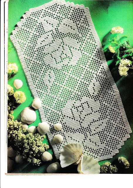 Filet crochet 'Patio' - see pattern and chart