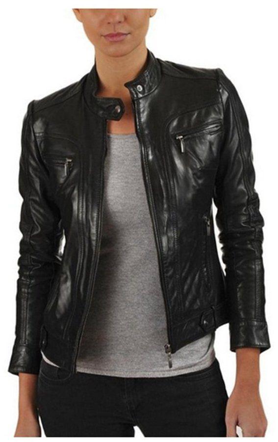 d61b668065d Softskin Leather Womens Genuine Lambskin Bomber Biker Leather Jacket ...