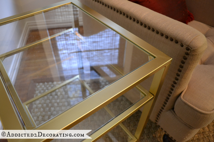 living room end tables from black to gold gold spray paint gold
