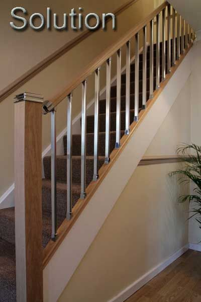 Stair Banisters Stair Parts Chrome Stair Handrail Fittings | Brushed Nickel Stair Railing | Horizontal | Farmhouse | Matte Finish | Light Dark Wood | Hallway