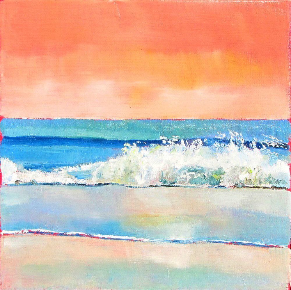 Shoreline painting Coral Sky Surf 20x20 oil by NancyHughesMiller ...