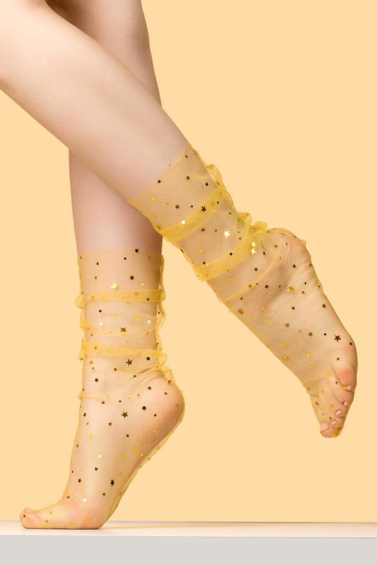 Women Glitter Thin Soft Star Sheer Mesh Tulle Socks Fishnet Hosiery Ankle Sock