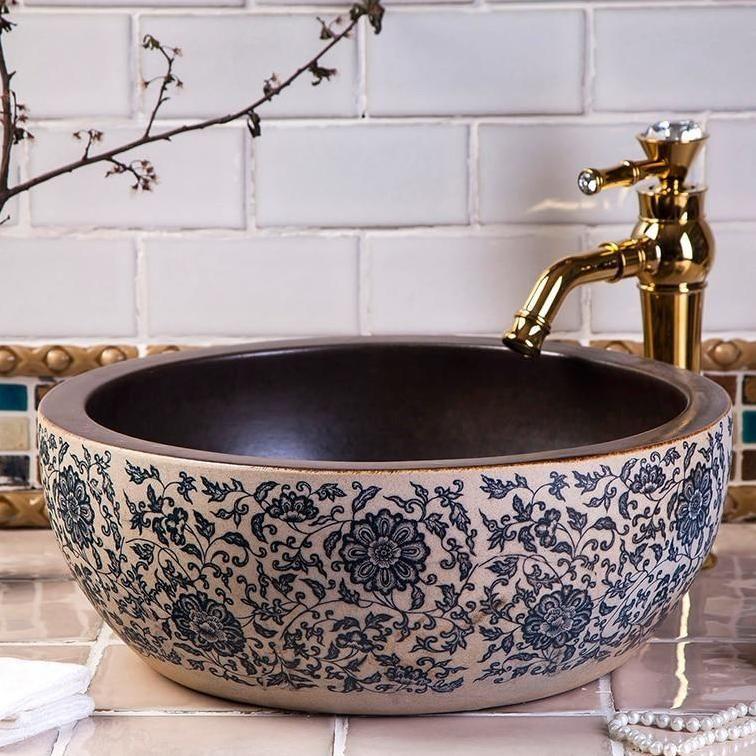 Chinese Porcelain Wash Basin Art Countertop Ceramic Sink In 2020 Ceramic Bathroom Sink Porcelain Bathroom Sink Ceramic Sink
